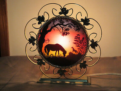 Vintage Mid Century Shadow Silhouette Night Light Lamp Horses