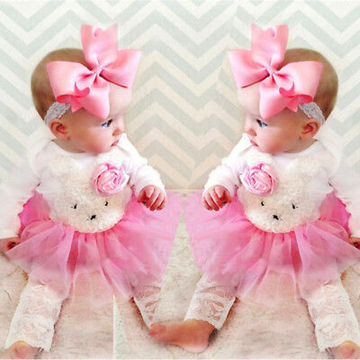 UK Stock Newborn Kids Baby Girl Flower Bunny Lace Dress Pants Outfit Set Clothes