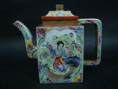Chinese Old Famille Rose Painting Zisha Pottery Teapot Marked QianLong