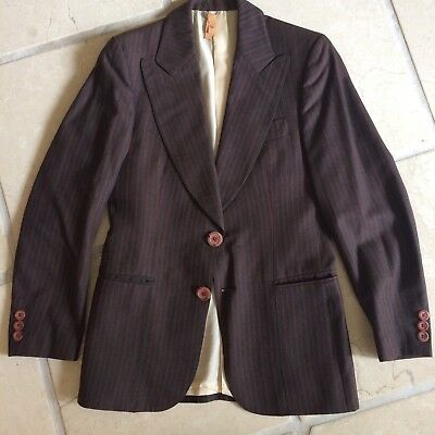 Vintage Cassino By Frieze Pin Striped Suit Small 1970s Flared Trousers EC