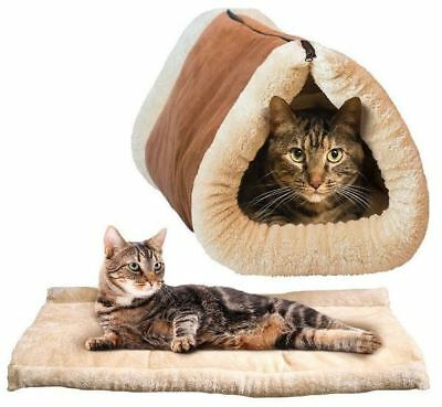 New Portable 2 In 1 Kitty Cabin Mat & Cat Tunnel Bed Thermo Cosy Warm Washable