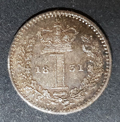 1831 King William Silver Maundy Penny (J)