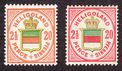 old germany heligoland 2,5P 20 Pf.1876 Mi# 18g +18h MH * expertized proved