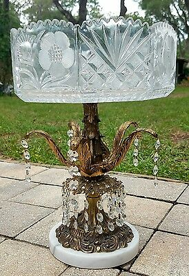 Hollywood Regency crystal pedestal compote bowl prisms gold metal marble large