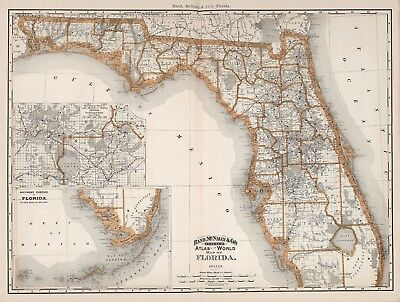 Vintage Old Antique decorative Florida Map Rand McNally 1892 paper or canvas