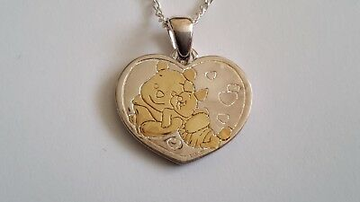 """New 925 Solid Silver 9ct gold Winnie The Pooh and piglet  Pendant & 16"""" Chain"""