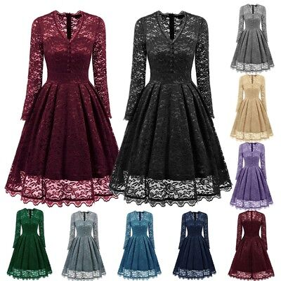 UK Womens Lace Long Sleeve Cocktail Prom Gown Party Evening Skater Dress 6-18