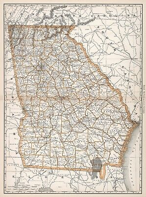 Vintage Old Antique decorative Georgia Map Rand McNally 1892 paper or canvas