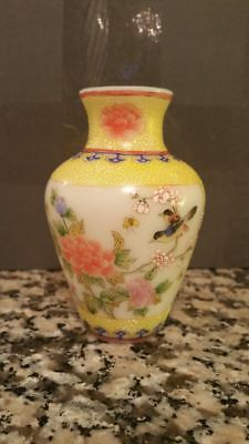 Vintage Chinese Peking Glass Vase -Birds and Floral- QianLong   China, 20th C.