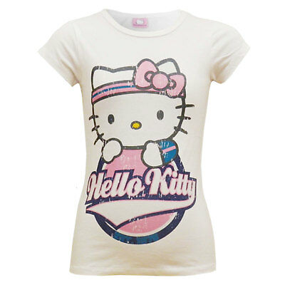 Kids Girls Official HELLO KITTY Stylish 100% Cotton Trendy T Shirt Top 3-10 Year