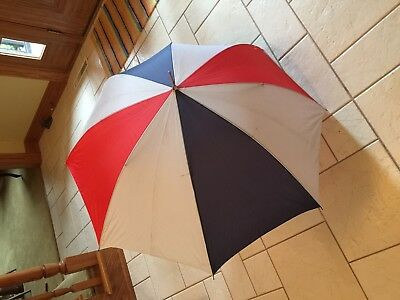 Vintage Red, White and Blue Large Umbrella