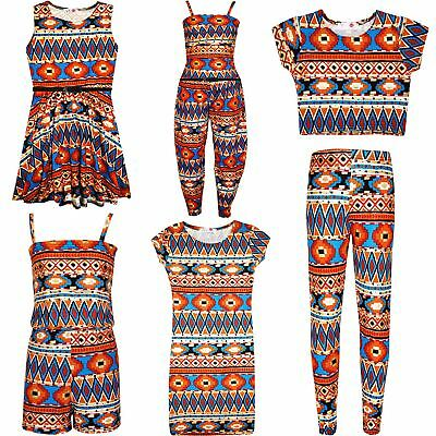 Girls Aztec Tribal Foil Print Skater Midi Dress Crop Top Legging Jumpsuit 7-13 Y