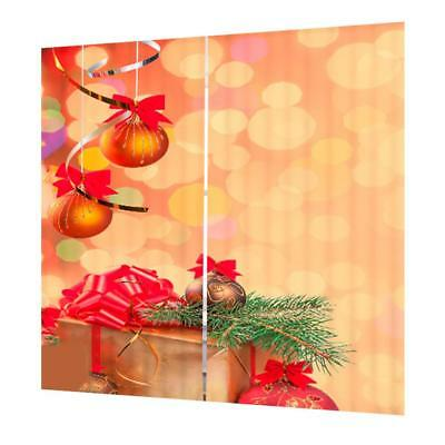 Set Christmas Theme Decorative Curtains Pleated Window Blinds Drape #22