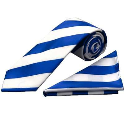 Handmade Blue and White Striped Classic Men's Football Tie and Handkerchief Set