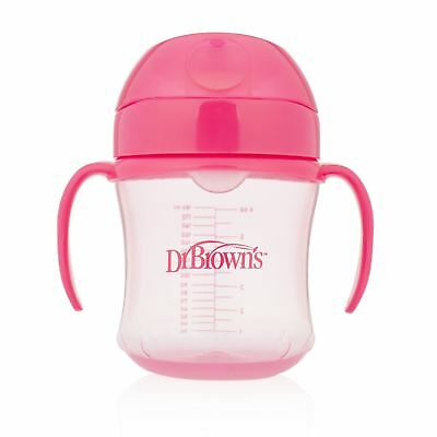 Dr Brown's Soft Spout Toddler/Baby Feeding Cup with Handles - 6m+, 180ml, Pink