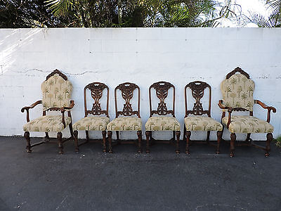 Set of 6 Early 1900's Walnut Large & Wide Heavy Hand Carved Dining Chairs 7768AX