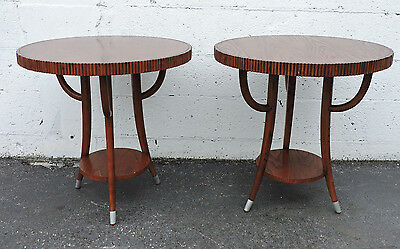Pair of Vintage Oak Living Room Round Side Tables End Tables 7691