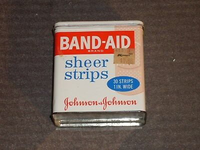 "Vintage Band-Aid Tin.  Johnson & Johnson 1"" Sheer Strips, 30 ct, #4626, Nice!"