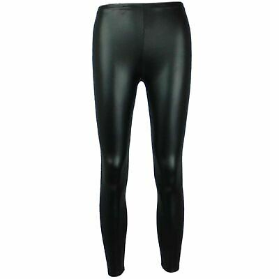 Girls Wet Look Legging Kids Shiny PVC Dance Leggings New Age 7 8 9 10 11 12 13Yr