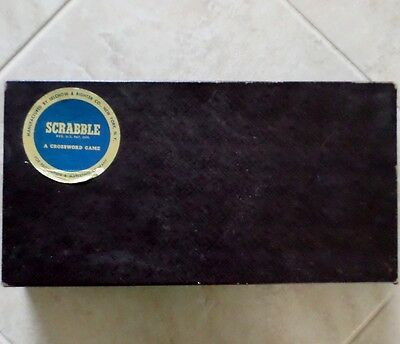 Antique Scrabble Game 1948-1953 Edition Wood Pieces with Board and Box