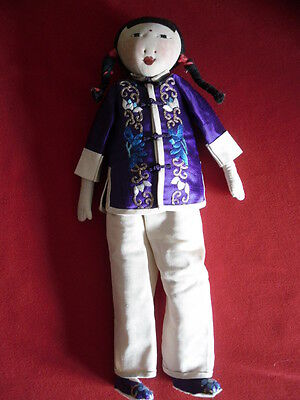 """Vintage OOAK Chinese 13"""" DOLL Handmade Early 1940's Asian Culture Collectible"""