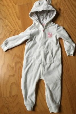 Carter's Infant One Piece Hooded Outfit Zip Front, Off White,  Size 18 Months