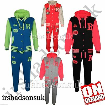 New Kids Girls Boys Baseball Tracksuit Hooded Jacket Bottom Set Size 2-13 Years