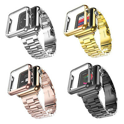 For Apple iWatch Series 3 & 2 &1 Stainless Steel Strap Watch Band+Adapter+Case