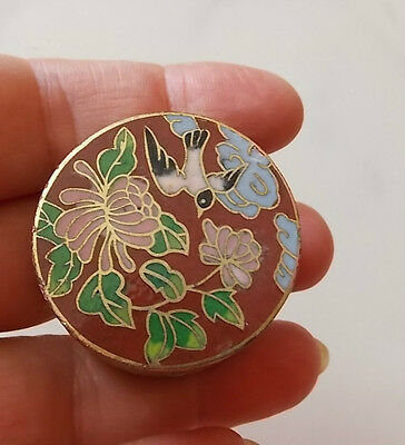 Vintage Brass Cloisonne Enamel Pill Trinket Box Hinged Cover Sparrow Bird Flower