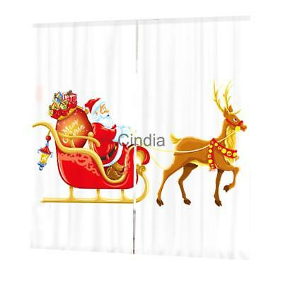 Set Christmas Theme Decorative Curtains Pleated Window Blinds Drape #28