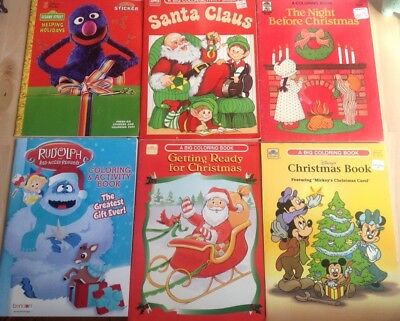 Lot of 6 Vintage Christmas Coloring & Activity Books Rudolph Santa Mickey