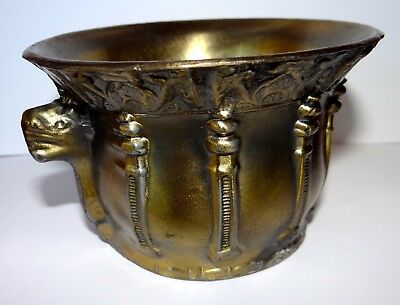 "Antique Cast Metal Renaissance Viking Bowl Cup (Nearly 2 Pounds) 3"" x 4.75"""