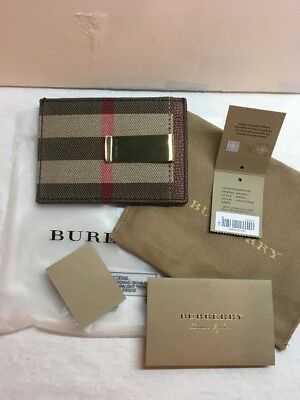 Burberry Check Leather Money Clip Card Case $250 Retail
