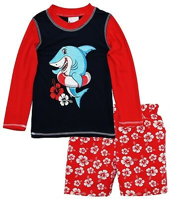 Sweet & Soft Baby Boys Shark Long Sleeve Rash Guard Hibiscus Swim Trunk 2Pc Set