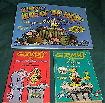 GRIMMY Mike Peters Lot of 3 CARTOON BOOKS Top Dog, Pick Litter, King Heap 3ea