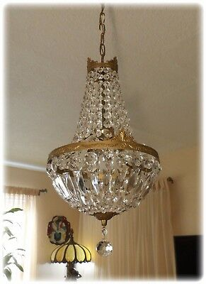 Antique French Brass Basket Crystal Petite Crown Chandelier 3 Light Lamp