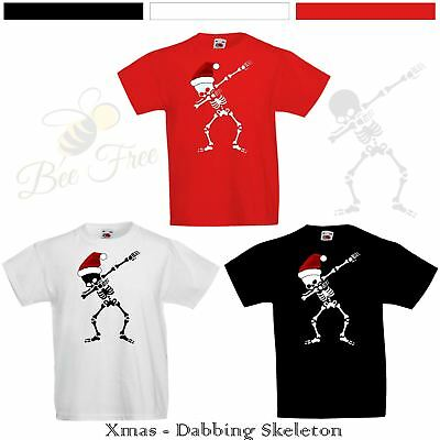 ff583973f307 New Kids Boys Girls Christmas T-Shirt Funny Xmas Skeleton Dab Dabbing Top  Gift