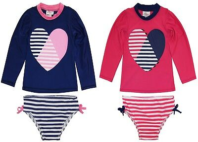 Sweet & Soft Toddler Girls Long Sleeve Heart & Stripes Swim Rashguard Bikini Set