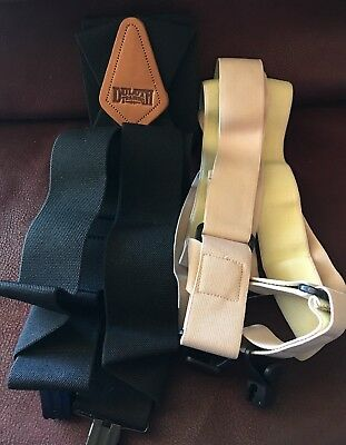 Lot Of 2 Clip Suspenders New 1 Duluth Trading Co Black & Beige