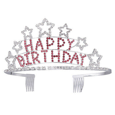 Happy Birthday Rhinestone Heart Flower Design Tiara Crown Comb Red/White/Blue