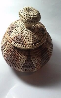 Vintage Papago Native American Basket With lid 7x6 inches Approximately