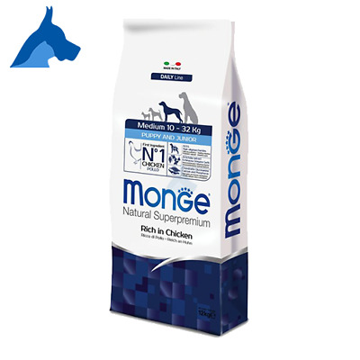 Monge Medium Puppy and Junior SuperPremium Natural 12 kg o 24 Kg Pollo