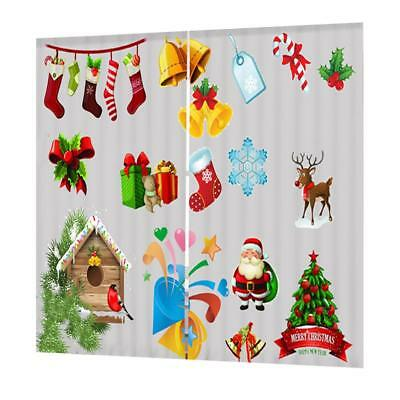 Set Christmas Theme Decorative Curtains Pleated Window Blinds Drape #20
