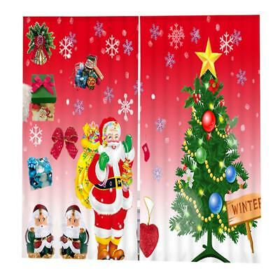 Set Christmas Theme Decorative Curtains Pleated Window Blinds Drape #13
