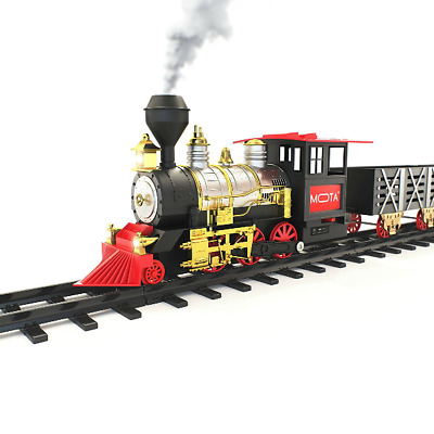 Traditional Christmas tree Big Train Set With Sounds Lights Smoke Xmas Gift