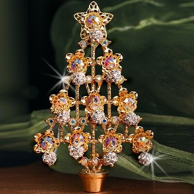New Sweet Romance Crystal Dangling Ornament Christmas Tree Pin  ~~Made In Usa~~