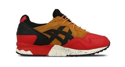 Mens Asics Gel-Lyte V G TX HL6E2 2590 Red Black Lace Up Casual Leather Trainers
