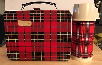 Vintage Plaid King Seeley 1964 Thermos Brand Lunch Box & Universal Brand Thermos