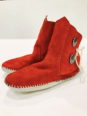 "$119 TAOS ""Indian Maid"" Size 6 Moccasins Red Maroon Leather Concho Tied Button"