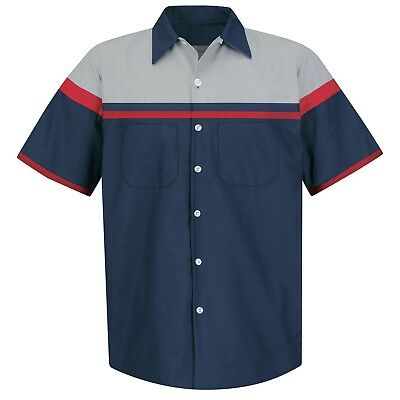 Red Kap Mens Short Sleeve Auto Mechanic Work Shirt